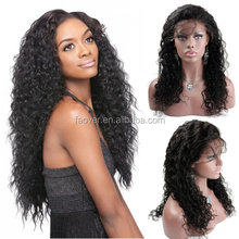 Top workmanship 100% handtied full lace wig brazilian virgin hair deep curly natural color 130% density lace front wigs