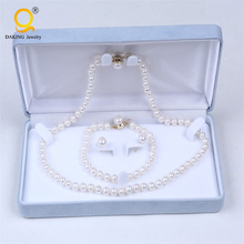 Elegant Button Pearl Jewelry Set With Plated Gold Pearl Jewelry Set