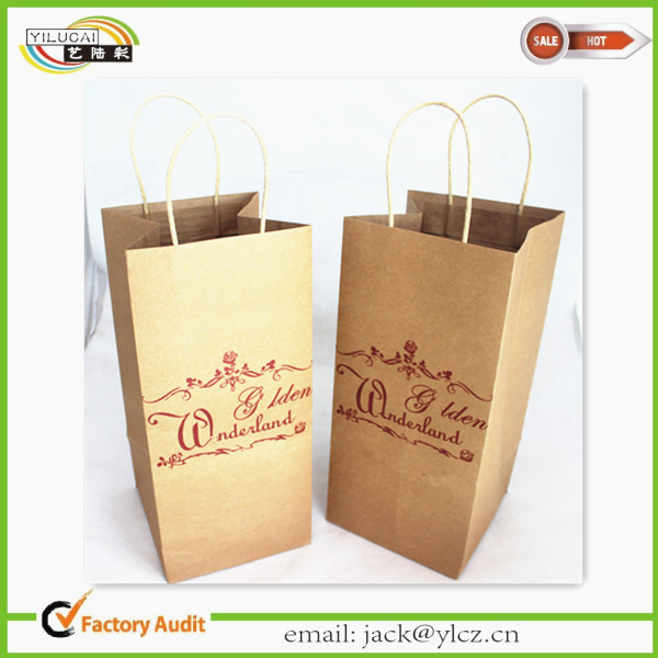 wholesale mini kraft paper glass gift wine bottle bags