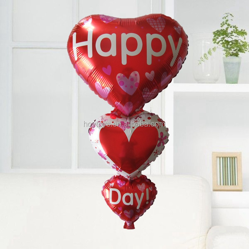 Creative weeding decoration conjoined heart foil balloons