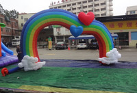 Heart shape inflatable rainbow arch/inflatable arch for wedding/inflatable arch for event