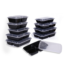 Take-out plastic pp partition disposable 3-compartment microwave meal prep bento lunch box 3 compartment food container