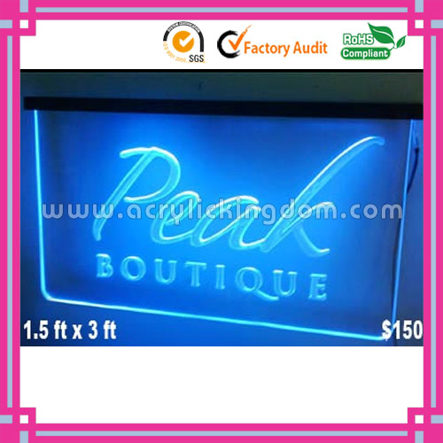 wall mounting Blue illuminated acrylic led display manufacturer