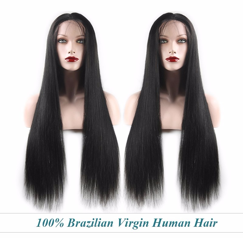 2016 Hot Sales Virgin Remy Silky Straight Full Lace Brazilian Human Hair Wig With Baby Hair