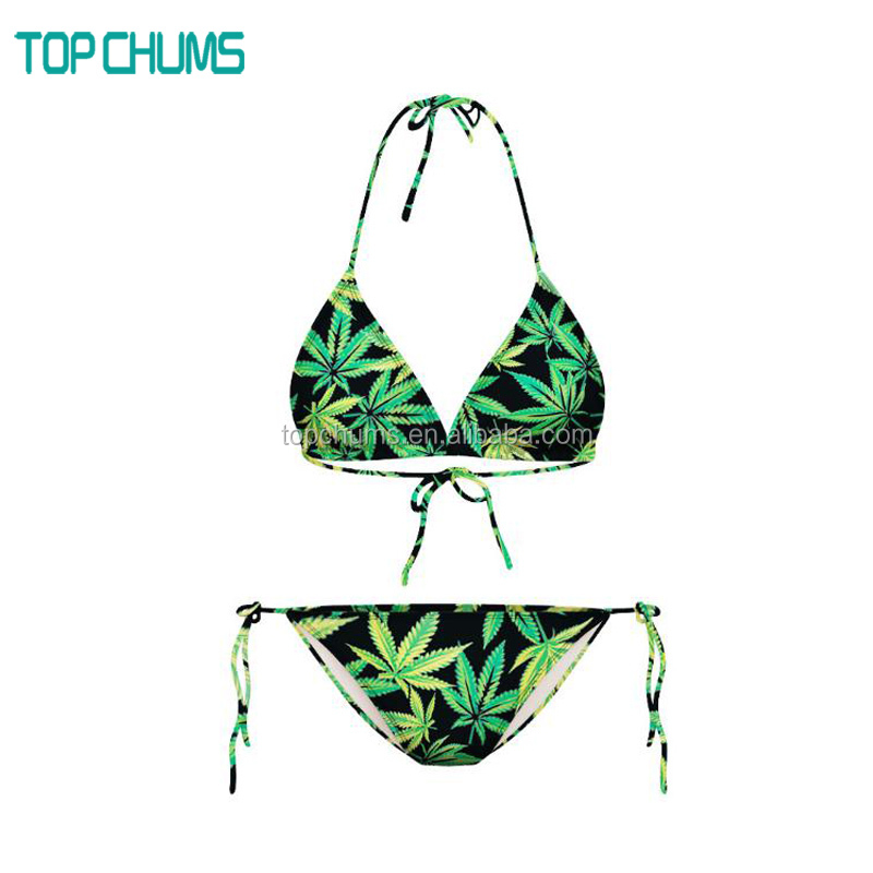 Latest design Fashion printed young girls bikini teen bra set-bikini