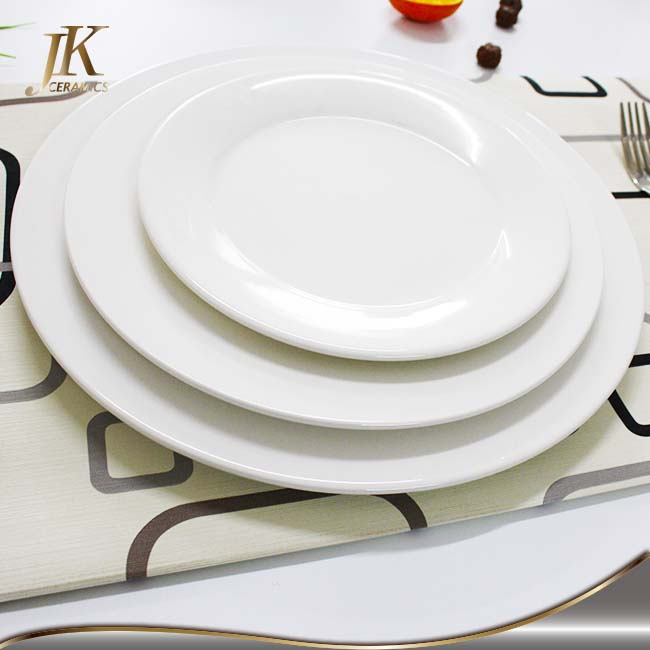 Wholesale white round bulk white ceramic porcelain dinner plates sets for restaurant