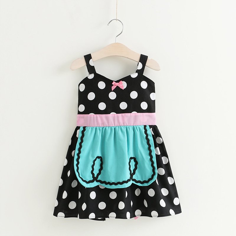0-7 years New 2017 Wholesale Summer Cotton ins Dots Black Baby Girls Dress (pick size color)