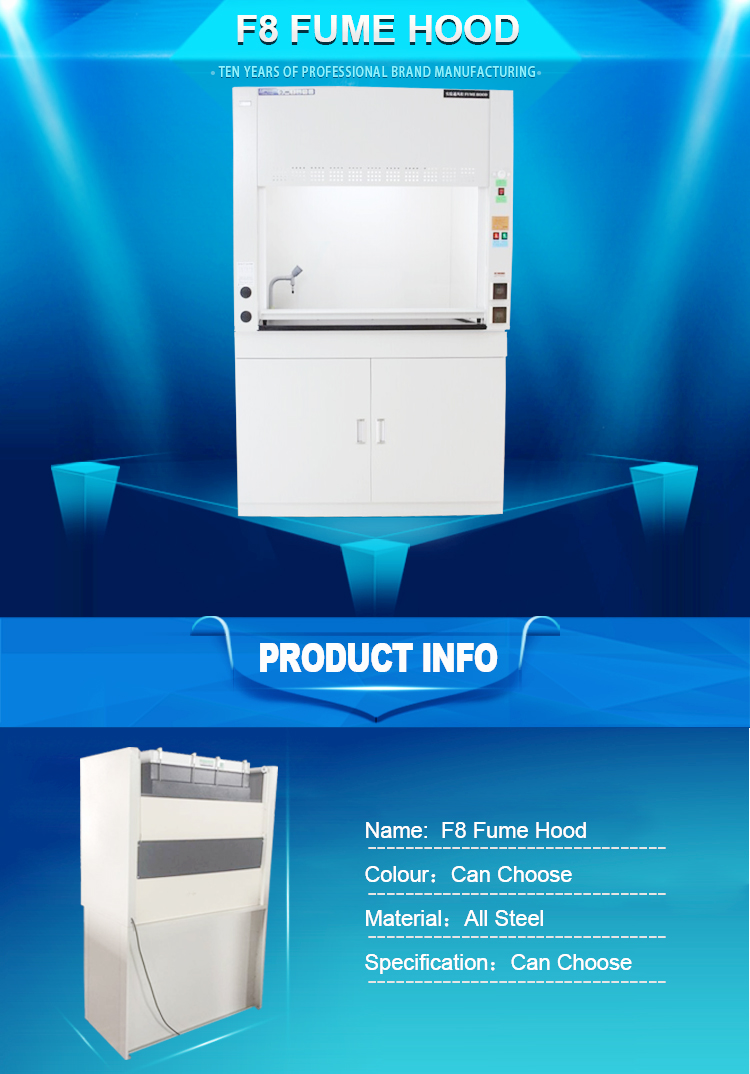 Science lab safety equipment carbon filter HEPA filter ductless fume hood cabinet