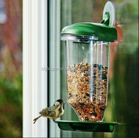 Outdoor garden plastic clear bird feeder hang on window