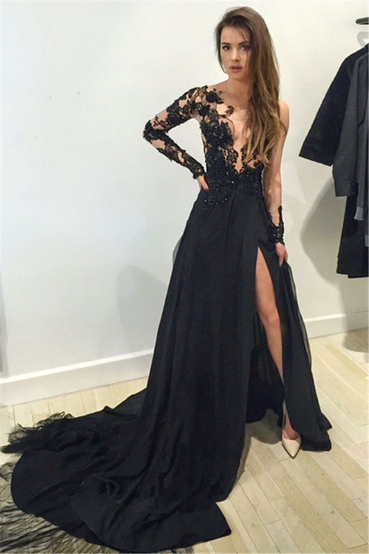 Sexy one shoulder black lace applique chiffon long sleeve evening dress