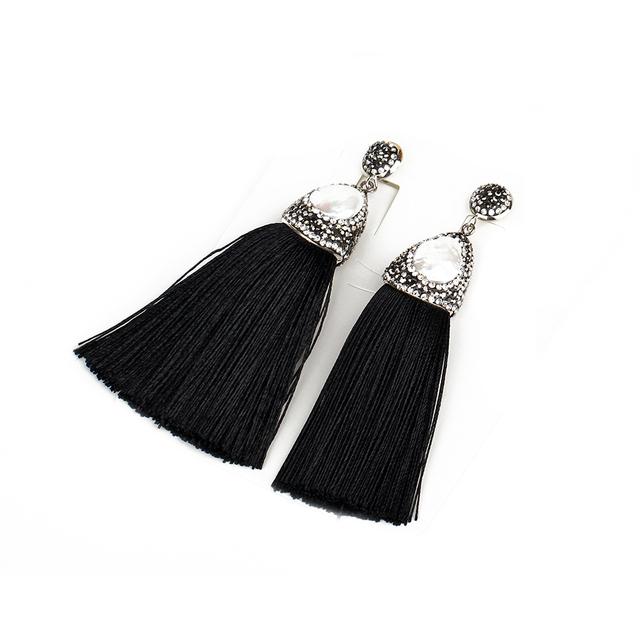 Latest model fashion earrings clay pave bead pearl charm black tassel drop earring
