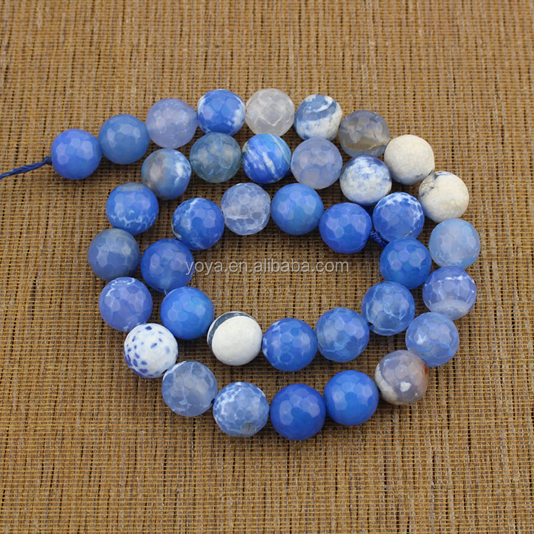 AB0091 Blue faceted crackle fire agate beads,blue gemstone beads