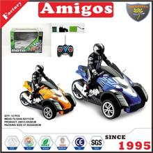 toy brand 1:10 4 channel motrocycle with battery and charger blue/yellow funny rc motorcycle