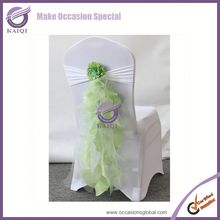 BS009 sage organza chair sash/wedding chair bow/organza chair cover sash