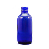 Hot selling 30ml/1oz blue boston round glass bottle with dropper or plastic cap