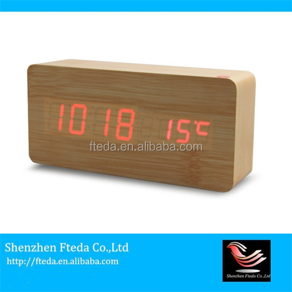 China wholesale digital weather station wooden table clock with blue backlight