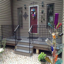 Outdoor Black Metal Stair Railing Wrought Iron Handrail