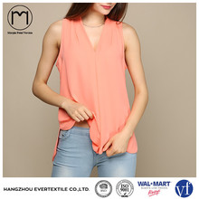 Wholesale China supplier Ladies latest chiffon Sleeveless fit tank tops in bulk