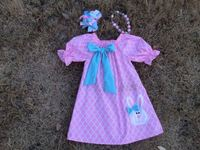 2015 new baby girls pink quatrefoil bunny Easter dress with necklace and headband set