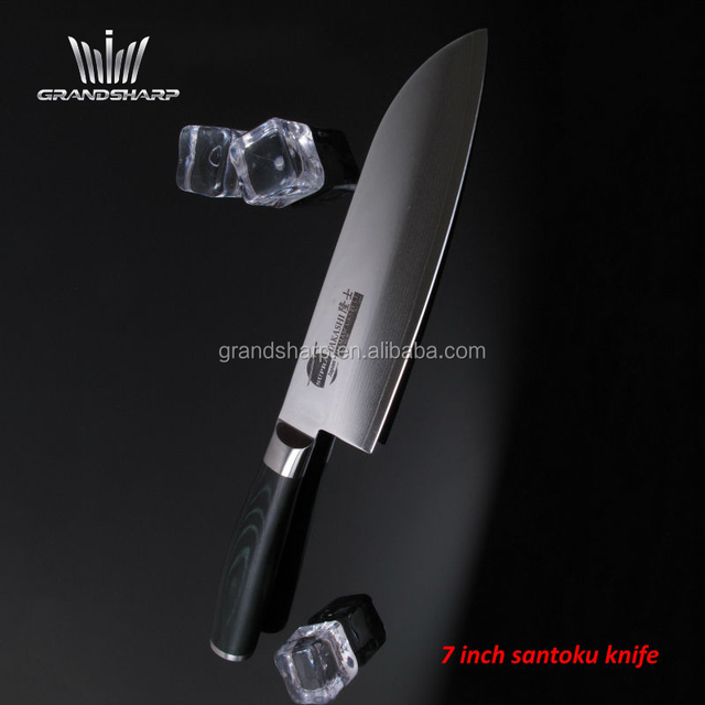 Japanese damascus steel Santoku knife with Micarta handle damascus knife