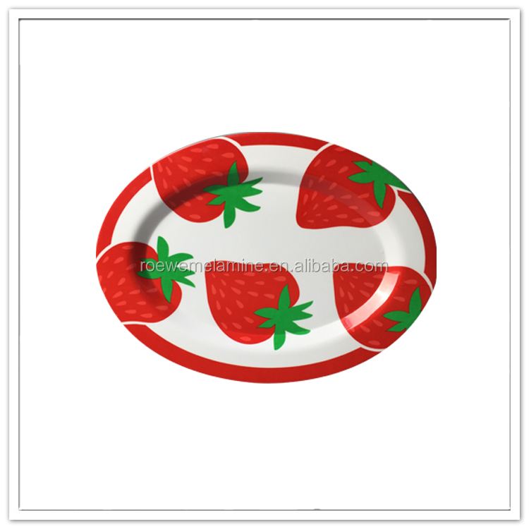 Family daily use food grade red strawberry custom print melamine oval plate