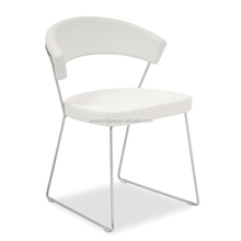 Latest design industry white pu round steel frame dining chair set of 2