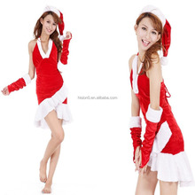High Quality Sexy & Lovely Christmas Costume Cheapest Wholesale Price Halter Skirt Halloween Costume Ladies Red Sexy Lingerie