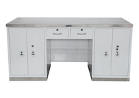 manufacturer medical stainless steel surface and seat working table with 4 drawers