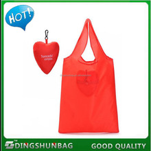 New Style Sweet Heart Shape Polyester Foldable Shopping Bag