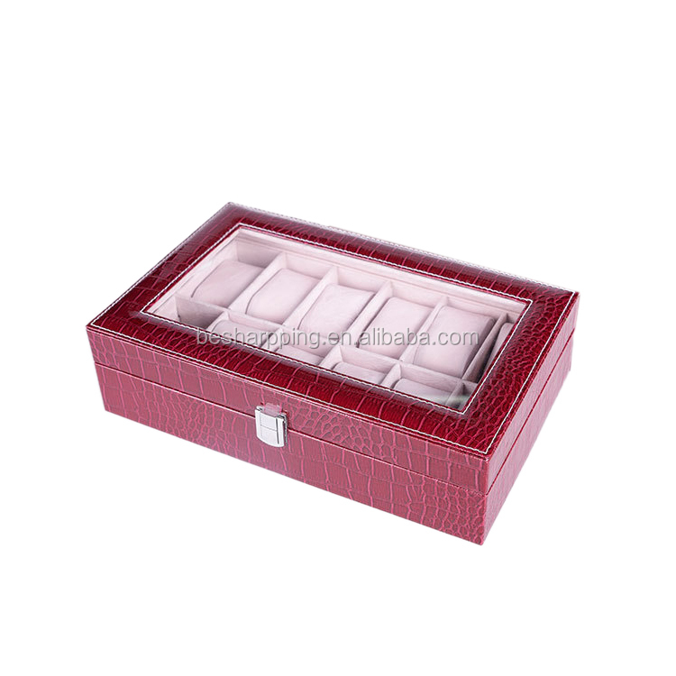 Custom Logo Luxury Design 6 Slots Jewelry Packing Organizer Clear Window Display Case Black Watch Box Leather