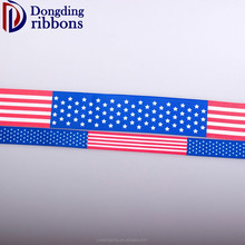 DIY different sizes heat tranfer printing ribbon American Flag Striped Grosgrain Ribbon