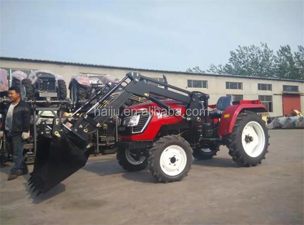4wd 25hp to 80hp China farm tractor with front loader backhoe