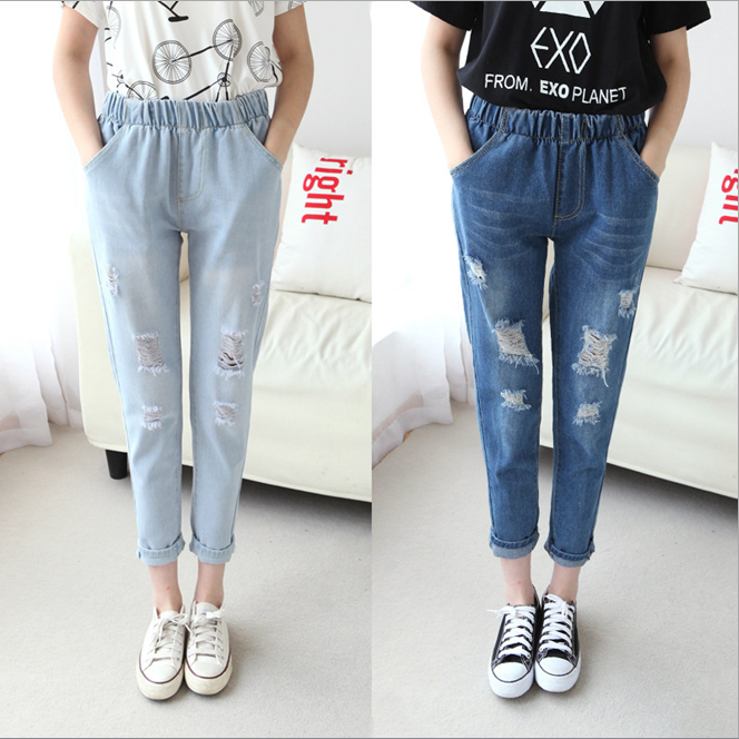 w72107g 2016 latest ladies jeans tops design hole women