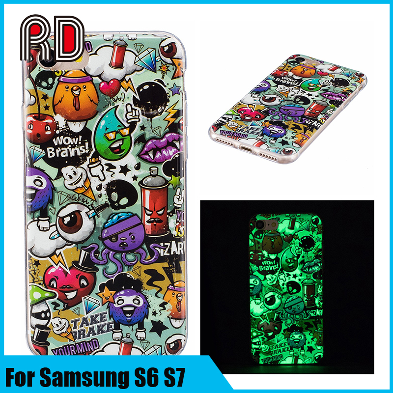 Glow In Dark Soft TPU Clear Cover Luminous Phone Case Drop Resistance Fashion Emoji Animal Pattern Skin For Samsung S6 S7
