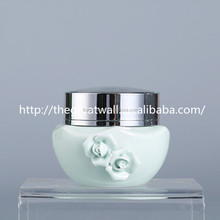 simple and elegant 25g/50g light green rose powder jar with aluminum cap for honey, wedding ,wholesale