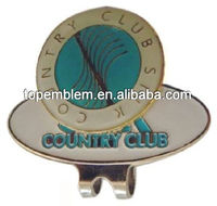 Country club golf cap clip with ball marker