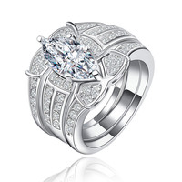 High quality CZ Diamond Platinum plated sterling silver Rings for Bridal