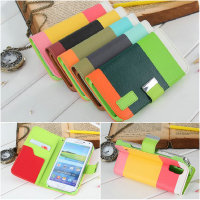 Fashionable assorted colors folio stand leather case for Samsung galaxy S5 i9600
