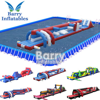 China supplier water obstacle double lane inflatable aqua run