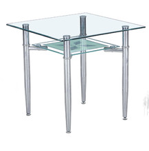 4 seater flat modern style tempered glass dining room table set