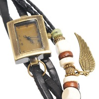 Retro Style Leather Weave Wrap Bracelets Lady Wrist Watch Rectangle Black Wing Pendant 19cm,1 pc,Jewelry