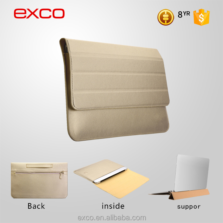 "Factory in Guangzhou EXCO laptop stand casual PU leather 11.6"" laptop case with handle for Macbook"