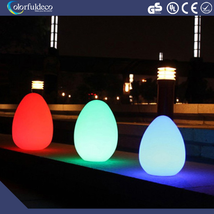 RGB battery operated waterproof plastic home glow decoration furniture led lighting egg ball