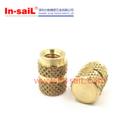 China supplier OEM service knurled brass mould-in blind threaded insert for plastics manufacturer