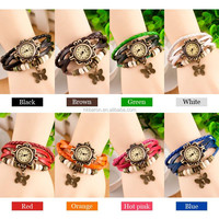 Free shipping 2015 Original High Quality Women Genuine Leather Vintage Watches,Bracelet Wristwatches Butterfly Tower Pendant
