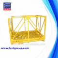 Yellow painted metal pallet/steel mesh box container