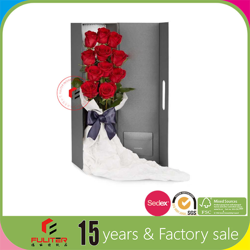 Noble low price ractangle paper red rose flowerbox design