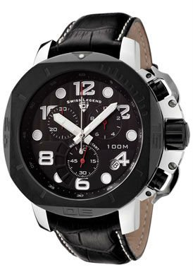 Swiss Legend Men's Scubador Chronograph Black Dial Black Leather