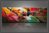 Single panel abstract oil painting on canvas with stretched