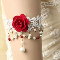 35mm White With Nylon & Cotton & Crystal & Glass Pearl & Zinc Alloy Lace Gothic Armlet